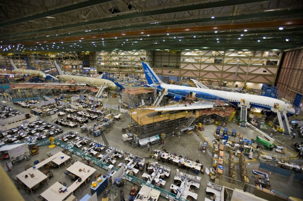 Boeing Factory Full with 787 Dreamliners
